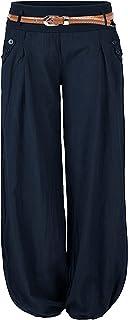 Cindeyar Damen Haremshose Elegant Pumphose Lange Leinen Hose mit Gürtel Aladin Pants
