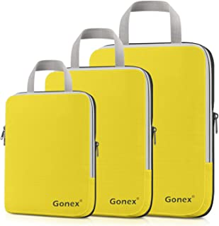 Compression Packing Cubes, Gonex Travel Organizers Upgraded 3PCS L+M+S(Yellow)
