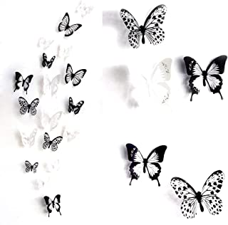 ElecMotive 36 PCS 3D Colorful Crystal Butterfly Wall Stickers with Adhesive Art Decal..