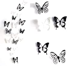 ElecMotive 36 PCS 3D Colorful Crystal Butterfly Wall Stickers with Adhesive Art Decal Satin Paper Butterflies Home DIY Decor Removable Sticker (Black-White)