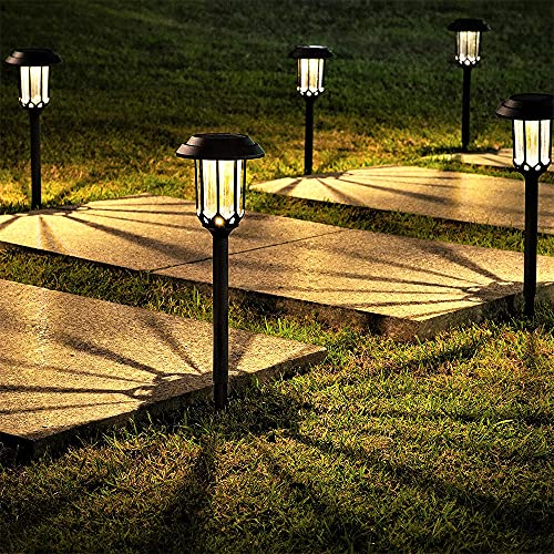 LeiDrail Pathway Lights 8 Pack, Bright Solar Lights Outdoor Waterproof Landscape Led Path Light for Garden Yard Lawn Walkway (Warm White)