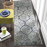 Safavieh Madison Collection MAD604G Navy and Silver Distressed Ogee Runner (2'3' x 6')