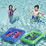 Inflatable Pool Toss Games Floating Cornhole Toss Set Corn-Toss Board & Floating Bean Bags for Pool Lawn,Bean Bags Toss Game for Kids Toddler Adult 2 Sets