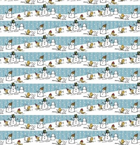 Peanuts Christmas Wrapping Paper Gift Wrap - Snoopy Charlie Brown & Woodstock (3.33 Feet Wide - 60 Square Feet) (White & Blue Stripe Snowman)