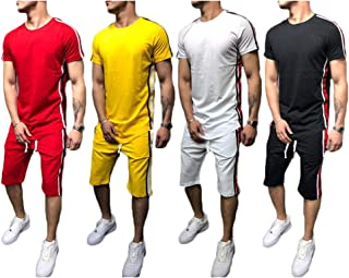 Gocgt Mens O-Neck Short Sleeve Shirt Top Stretchy Waist Shorts Solid Color 2PC Set Suits