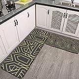 Juego de 2 alfombras de cocina, diseño abstracto Art Deco sin costuras, alfombra de franela supersuave, alfombra de pasillo, antideslizante, lavable, juego de 2 unidades
