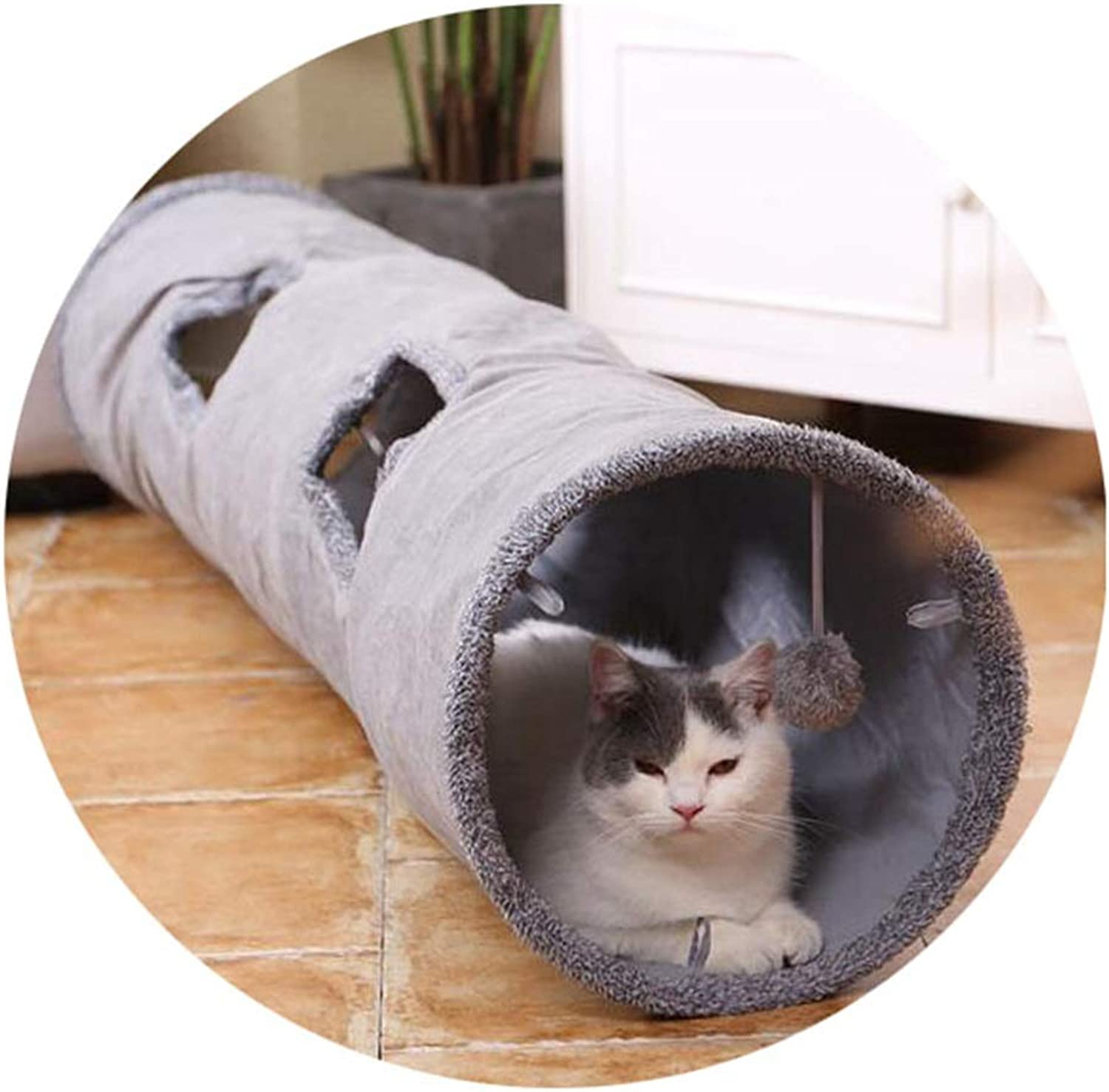 CAOBOO Collapsible Cat Tunnel Crinkle Kitten Play Tube for Large Cats Dogs Bunnies with Ball Fun Cat Toys 2 Suede Peep Hole Pet Toys As Photo 130x30cm