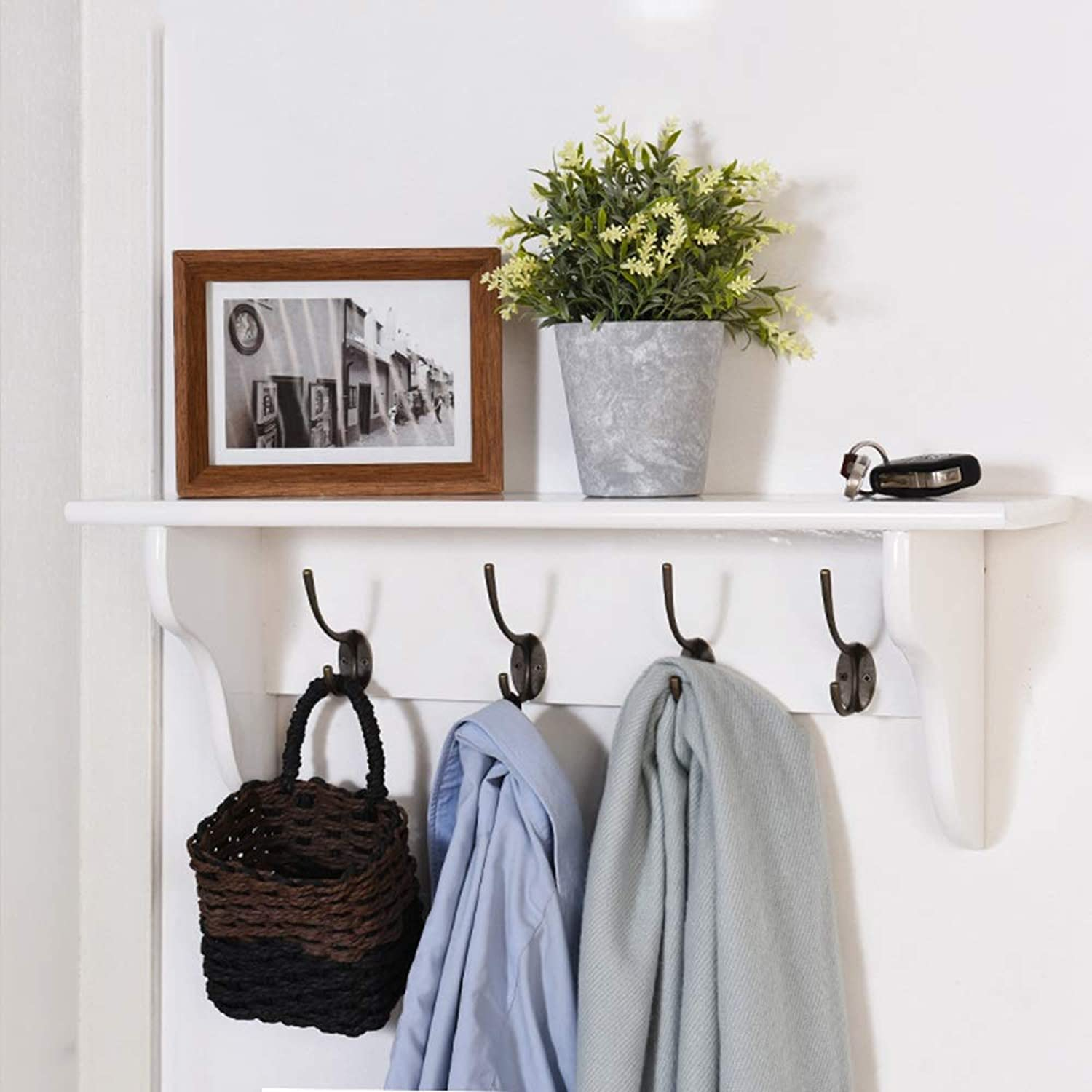 QFFL Coat Hook, Wall-Mounted Coat Rack with Shelf and 4 Hook White Wooden Wall Shelf for Hall Bathroom Kitchen and Cloakroom Wall Hanger