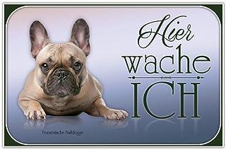 AdriLeo Schild 15x20cm Hier wache ich - Vorsicht Beagle // Achtung Hund Wachhund
