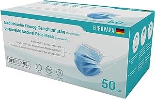 EUROPAPA 50x medizinische OP Maske 3-lagig Atemschutzmasken Typ IIR TÜV CE zertifiziert Chirurgische Einwegmaske Mund und ...