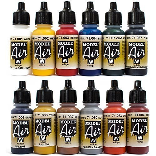 Airbrush Farben 12 x 17 ml Vallejo Model Air Basis Bunt Farben-Set Airbrushfarben