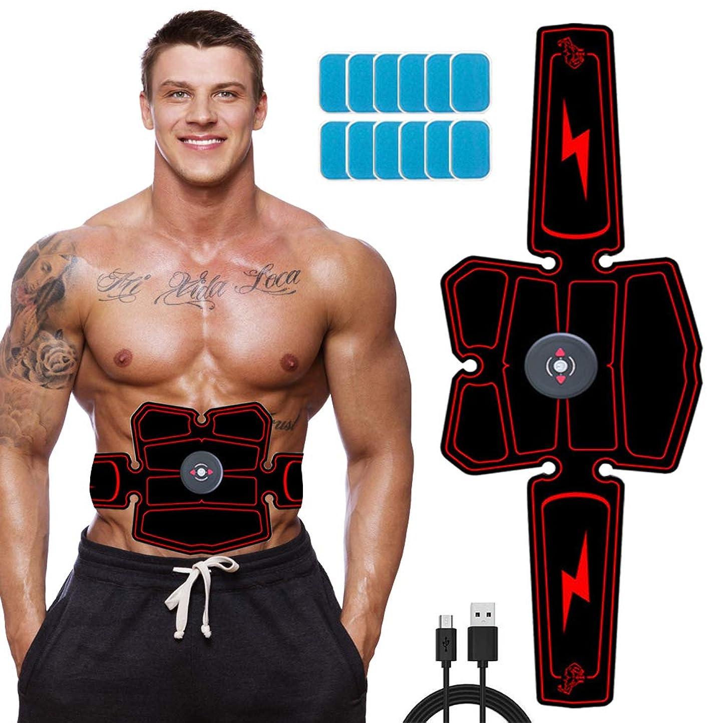 かもしれないぺディカブ液化するEMS 腹筋ベルト USB充電式 腹筋トレーニング 男女兼用 6種類モード 10段階強度 腹筋 腕筋 腰 トレーニング 器具 ジェルシート12枚追加 日本語説明書付属