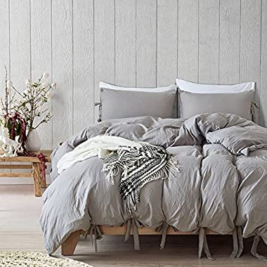 willstar 3 Piece Duvet Cover Set Washed Cotton Natural Ultra Soft Solid Color Modern Style Bedding Set (Grey, King)