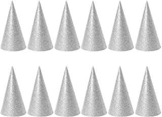 Best Design 12pcs Glitter Birthday Party Cone Hats Triangle Favors Decorations, Birthday Cone Hats - Coneheads Costumes, Childrens Party Hats, Party Hat Cone Kids, Paper Crown Gold