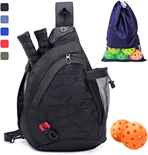 ZOEA Pickleball Bag, Sport Pickleball Sling Bag for Women Man, Adjustable Pickleball Bag with Water Bottle Holder, Fits 4 Paddles and All Your Other Gear