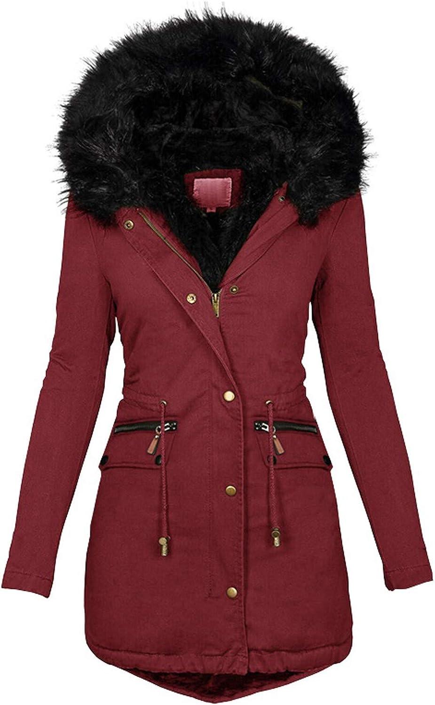 HGWXX7 Jacket for Women Zip Up Faux Fur Hood Parka Jacket Casual Plus Size Waist Drawstring Winter Coats with Pocket Wine