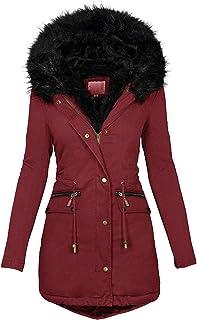 Winwintom Chaqueta cálida de Invierno para Mujer Abrigo de algodón Cuello de Piel Grande Abajo Abrigo de algodón Abrigo de...
