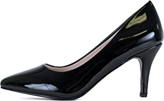 Womens Classic - Closed Pointy Toe Low Kitten Heel - Dress Slip On Pump