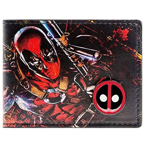 Marvel Deadpool Gedruckte Zeichen mit Abzeichen Mehrfarbig Portemonnaie Geldbörse