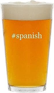 #spanish - Glass Hashtag 16oz Beer Pint