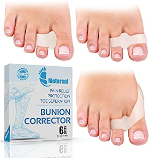 Metarsal Bunion Corrector Support Kit, Soft Gel Toe Separators & Bunion Cushions, Protector Shield & Pads Orthopedic Bunion Splint, Fast Relief Toe Drift Comfort Treatment One Size Fits Most Pack of 6