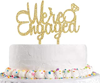 We're Engaged Cake Topper Gold Glitter Bride to Be,Engagement,Bridal Shower,Wedding Cheers Party Decoration Supplies(Acrylic)