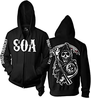 Sons of Anarchy SOA Reaper Officially Licensed Zipped Hoodie