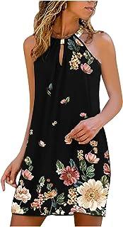 فستان للنساء معدن الرقبة المعلقة ليوبارد طباعة بلا أكمام فساتين الصيف عارية الذراعين فستان الشمس الشاطئ