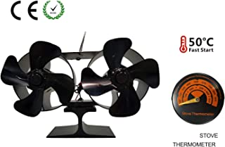 Double Motor 8 Blade Stove Fan with Stove Thermometer Heat Powered Large Room for Fireplace/Wood/Log Burner (Black)