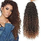 6 Packs Curly Faux Locs Crochet Hair, 18 Inch Goddess Locs Crochet Hair Hippie Locs Synthetic Braids, Boho Style, Hair Extensions (18 Inch, 6 Packs, T1B/30)