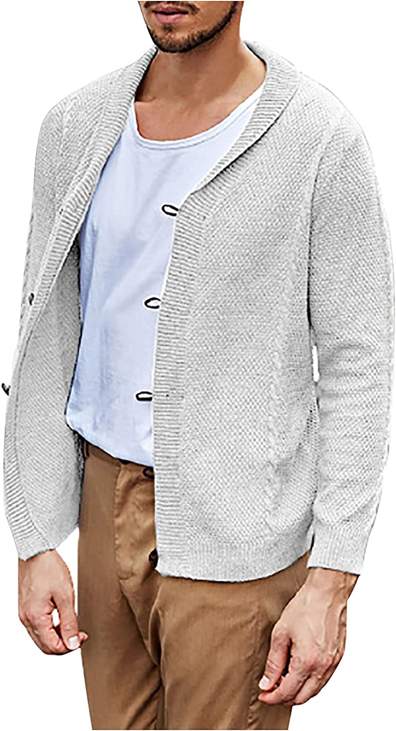 Men's Cardigan Coat Fashion Solid Lapel Long-Sleeved Leather Button Flat Knitted Sweater Henley Sweater Jacket