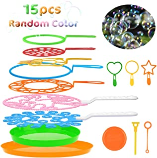 B bangcool Bubble Wands Set - Big Bubbles Wand Creative Funny Bubbles Maker, Nice for Outdoor Playtime & Birthday Party & Games, Suitable for All Age People (15 PCS)