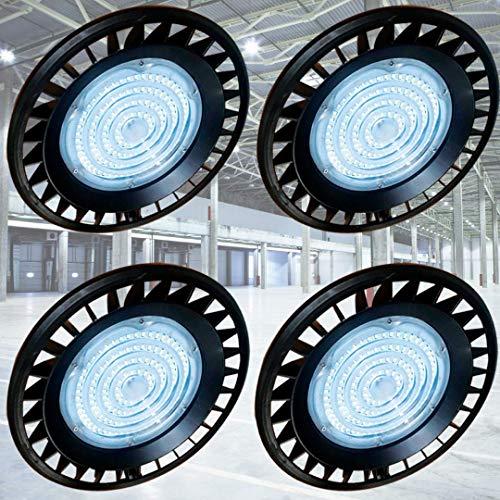 GENPAR 150W 4 PK UFO LED High Bay Light 600W HPS/MH Equivalent 19500LM lumens Daylight White 5700K-6000 IP65 Waterproof Warehouse Lighting Fixture Commercial Shop Lighting Factory Industrial Garage