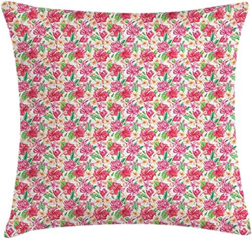 DRXX Hibiscus Throw Pillow Funda de cojín, arreglo Tropical de Flores de Tonos ish, Funda de Almohada Decorativa Cuadrada Decorativa, 45 x 45 cm, Coral Oscuro, Verde Pistacho, Pastel pálido
