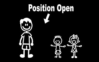 Position Open Stick Figure Family Decal, Family Sticker, Two Kids Two Dogs, Family Sticker One Girl One Pet, One Boy Three Pets, H 5 by L 9 Inches (Two Young Children, White)