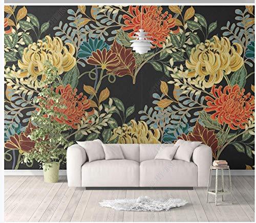 Behang 3D Stereo Chrysant Patroon Slaapkamer Woonkamer Achtergrond Muurbehang Decoratieve Schilderij Naadloze Wandbekleding Non-Woven muurschildering 280 x 200 cm.