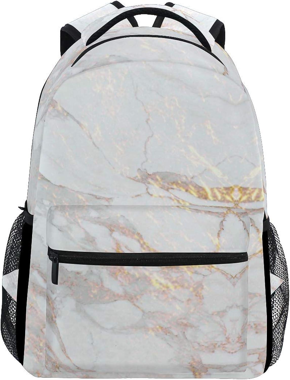 Elegant gold Marble Pattern Trekking Backpack Fashion Backpack Oversized Backpack Men and Women Durable Travel Computer Backpack 17 Inch Notebook Waterproof Large Business Bag