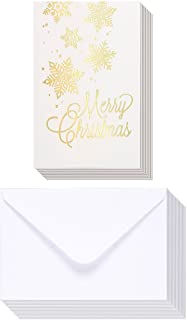 48-Pack Merry Christmas Greeting Cards Bulk Box Set - Winter Holiday Xmas Greeting Cards with Gold Foil Design, Envelopes Included, 4 x 6 Inches