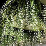 Christmas Tree Lights Bunch Lights 220LED 10Strands Vine Waterfall Hanging Twinkle Fairy String Lights with Remote Waterproof Copper Wire Battery Operated & USB Fairy Lights for Wedding Garden
