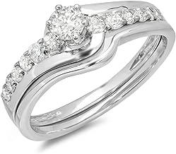 Dazzlingrock Collection 0.60 Carat (ctw) 14k Round Diamond Swirl Promise Bridal Engagement Ring Set Matching Band, White Gold
