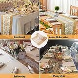 ZIYUEZIKUN Jute-Tischläufer, 5 Stück, Vintage-Tischläufer für Hochzeit, Feste, Events, Tischdekoration (5 Stück) - 7