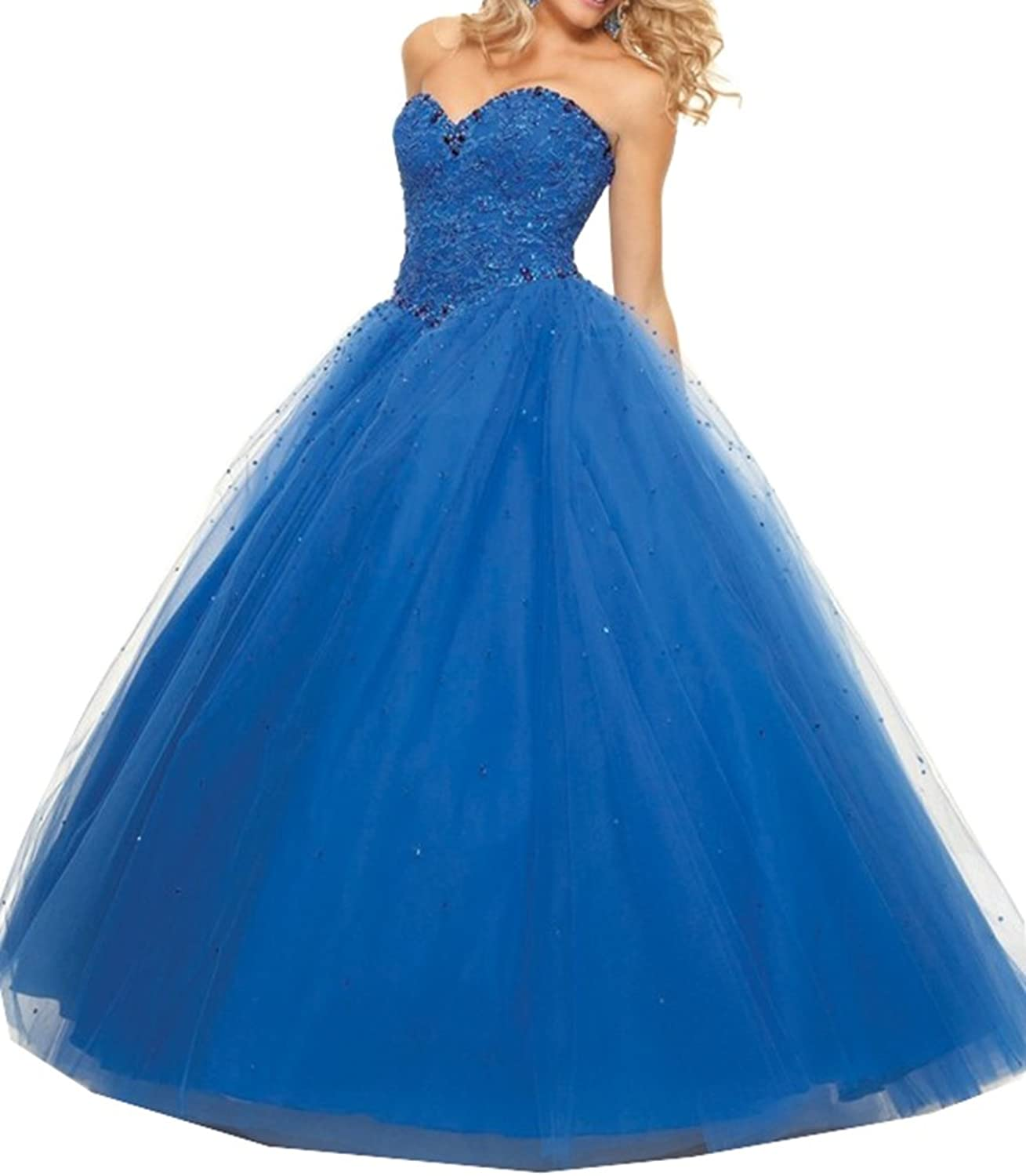 Lavaring Women's Tulle Backless Laceup Sweetheart Beaded Long Ball Gown