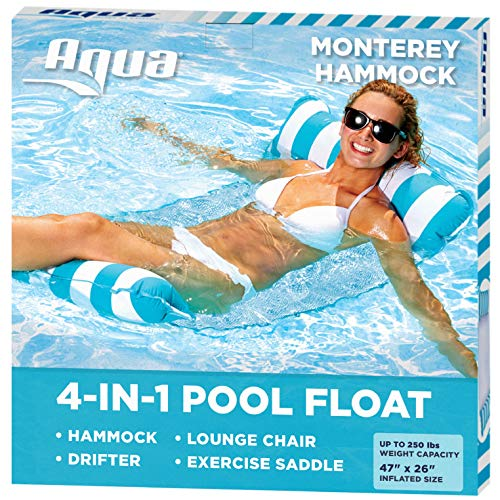 Aqua 4-in-1 Monterey Hammock Inflatable Pool Float, Multi-Purpose Pool Hammock (Saddle, Lounge Chair, Hammock, Drifter) Pool Chair, Portable Water Hammock, Light Blue/White Stripe