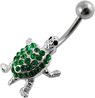 Sold Individually Inspiration Dezigns 14G Elephant with Enamel Color and Antique Plated Navel Ring