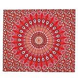 Arazzo da parete WINOMO Arazzo indiana in stile Mandala pavone rossa 210 x 150 cm...