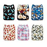 ALVABABY Baby Cloth Diapers One Size Adjustable Washable Reusable for Baby Girls and Boys 6 Pack with 12 Inserts 6DM25