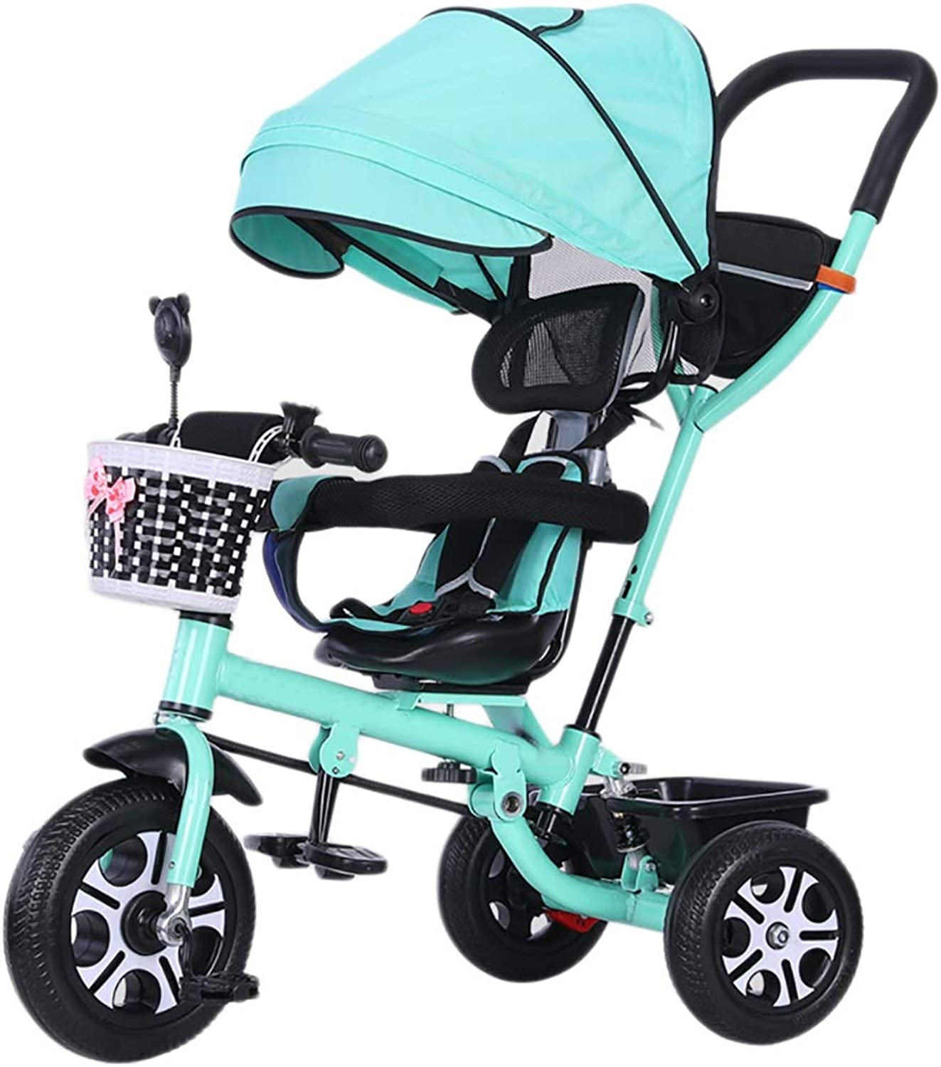 NBgy Tricycle, Easy to Fold redating Multi-Function 4 in 1 Tricycle Portable, 1-6 Year Old Baby Outdoor Tricycle, 3 colors, (100-105) X76x60cm