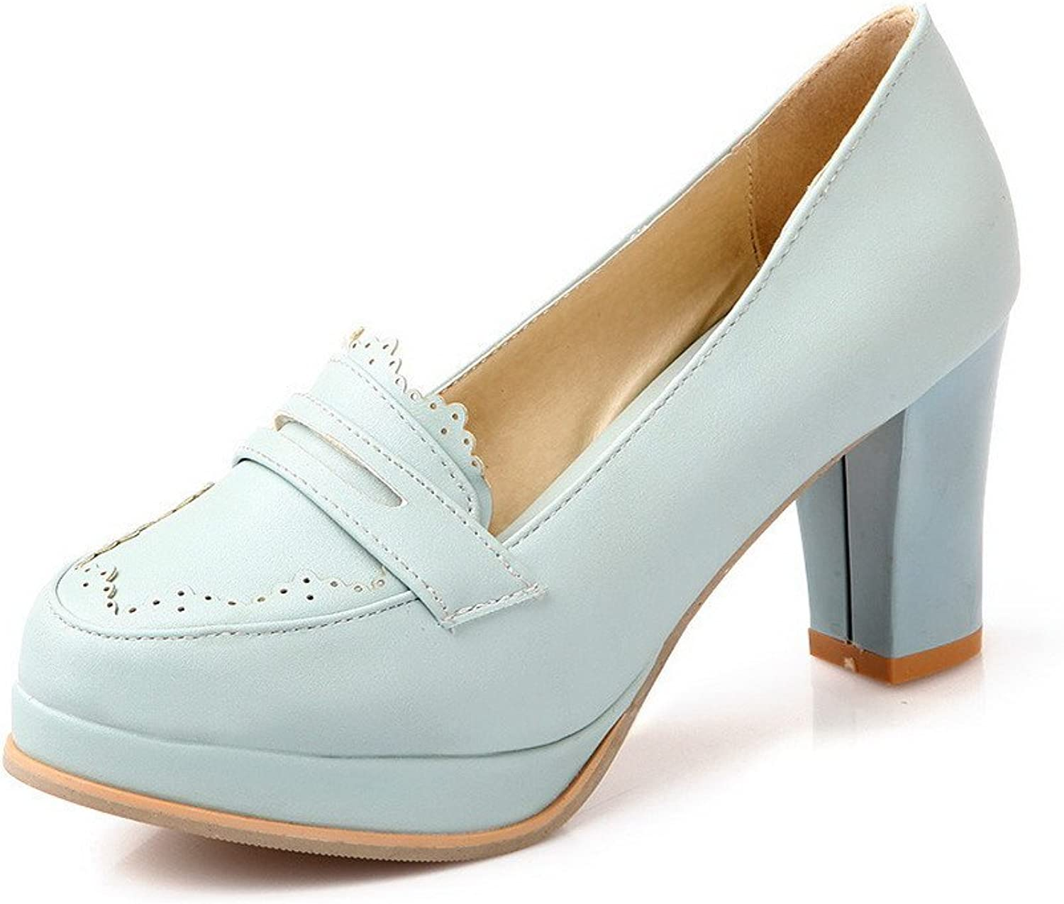 WeenFashion Women's Pull On Round Closed Toe High Heels Solid Pumps-shoes