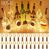 Onforu 24 Pièces LED Bouteille Guirlande, 2M 20 LEDs Lumière Liège à Pile, Bouchon IP67 Étanche, 3000K Blanc Chaud, Guirlande Lumineuse Fil de Cuivre pour Valentin, Mariage, DIY, Décor Table