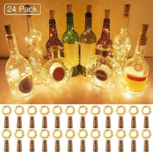 Onforu Luz Botella LED (24 Pack), 2m 20 LEDs Luz de Corcho Impermeable IP67, Guirnaldas LED Pilas (Incluidas) Luminosas de Vino, 3000K Blanco Cálido DIY Decoración Interior para Navidad Fiesta Boda